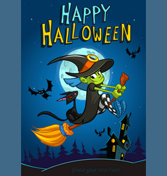 halloween witch with broomstick isolated vector image