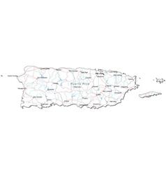 Puerto Rico Black White Map vector image