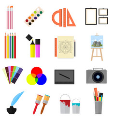 cartoon art color icons set vector image vector image