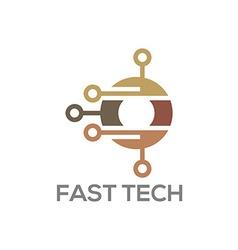 Circle logo connection technology information vector