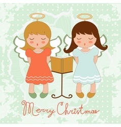 Cute christmas card with happy angels singing vector