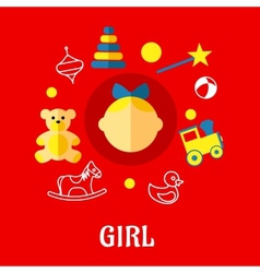 Girl flat concept vector image vector image
