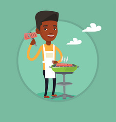 man cooking steak on barbecue grill vector image vector image