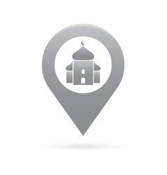 Mosque surau map pointer icon marker gps location vector