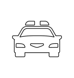 Police car outline icon Linear vector image
