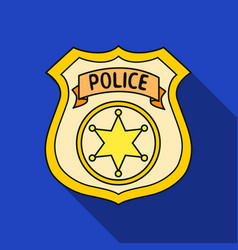 police officer badge icon in flat style isolated vector image