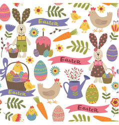 seamless pattern with easter design elements vector image vector image