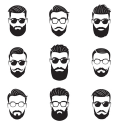 Set of bearded men faces vector image vector image