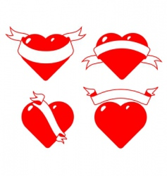 set of stylised hearts with ribbons vector image