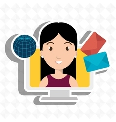 woman laptop global message vector image vector image