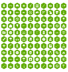 100 oppression icons hexagon green vector image vector image