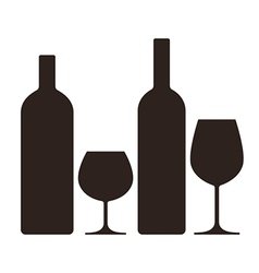 Bottles and glasses of alcohol vector image