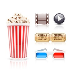 Cinema and movie icons set vector image