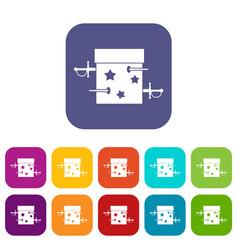 sword box icons set vector image