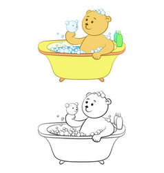 teddy bear washes in the bath vector image vector image