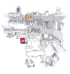 Urban sketch of mecidiyekoy district of istanbul vector