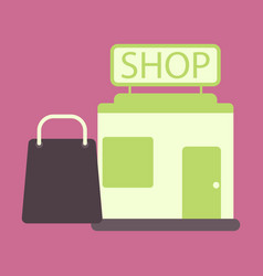 flat icon shop package vector image vector image