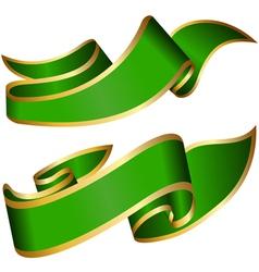 Green ribbon collection vector image vector image