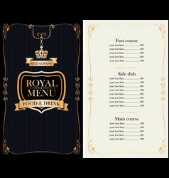 royal menu for restaurant or cafe with price list vector image vector image