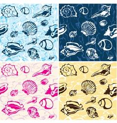 seamless seashell background marine pattern vector image vector image