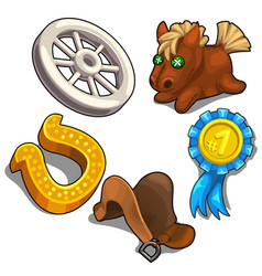 set of items on theme of horse racing vector image