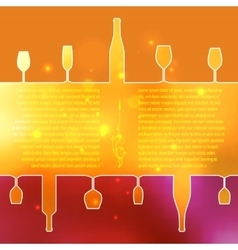 Silhouettes of wine bottles and glasses on an vector image
