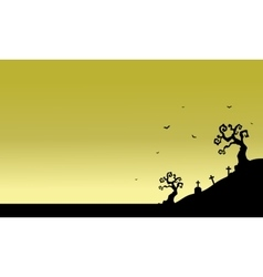 Tomb scenery of silhouette Halloween vector image