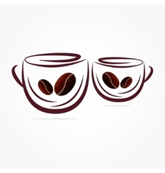 two cups of coffee vector image