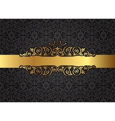 Vintage gold frame on damask black background vector image