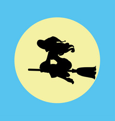 witch silhouette on a moon background vector image