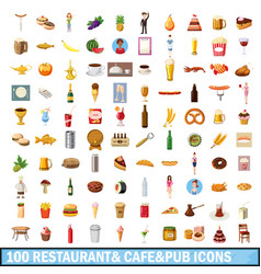100 restaurant cafe icons set cartoon style vector