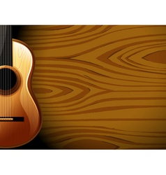 A guitar beside a wood-colored wall vector