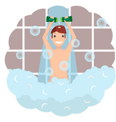 a man uses shampoo in the shower vector image