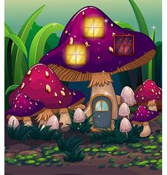 A purple mushroom house vector