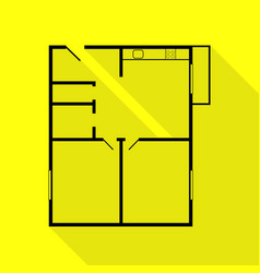 apartment house floor plans black icon with flat vector image