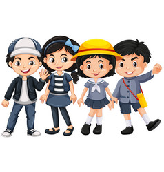 Asian kids with happy face vector