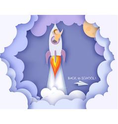 Back to school card children flying on rocket vector