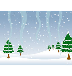Background landscape with Christmas trees covered vector