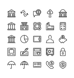 Banking and Finance Outline Icons 3 vector