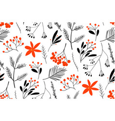 black-red winter berries hand drawn floral vector image