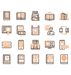 Books reading color linear icons set vector