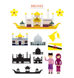 Brunei landmarks architecture building object set vector