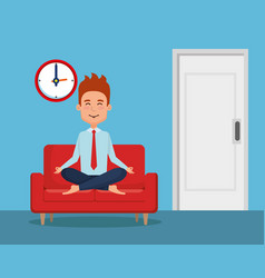 business man practicing yoga in the sofa vector image