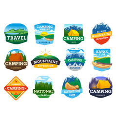 camping hiking and travel icons vector image