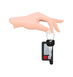 Car key in human hand flat vector