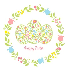 Card easter eggs with flowers vector