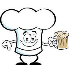 Cartoon chef hat holding a beer vector