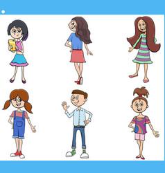 cartoon kids and teens characters set vector image