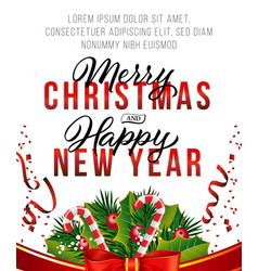 Christmas and new year poster design candy cane vector