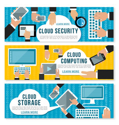 Cloud computing data storage and security banner vector